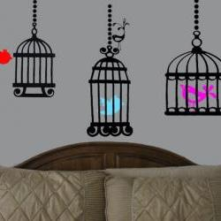 Beautiful birdcage vinyl decal with bird