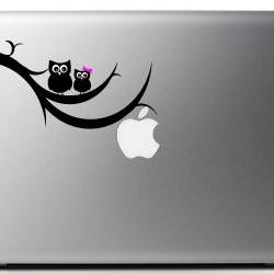 Owls on a branch vinyl laptop decal