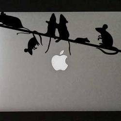 Mice on a Wire Vinyl Decal