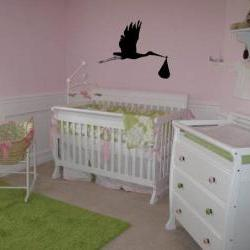 Stork and baby vinyl decal for nursery - UK Seller